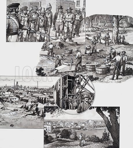 Western Australia.  Illustration showing: convicts, panning for gold, early Kaloorllie including the so-called Golden Mile, and modern Perth.  Original artwork for illustrations on p23 of Look and Learn issue no 483 (17 April 1971).  Lent to Look and Learn for scanning by The Gallery of Illustration.