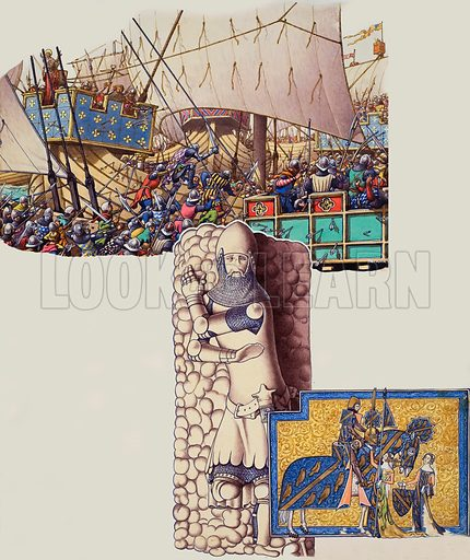 Battle of Sluys.  The great battle fought in 1340.  Our picture shows the English boarding the Christopher, an English ship which the French had recently captured.  The effigy is of Sir Oliver Ingham who, in 1340, drove the French from Bordeaux,  The pebbles indicate that he was a brave warrior, not a country gentleman.  The image in the bottom right is of Sir Geoffrey Lutterell being seen off to the wars by his wife and daughter.  Original artwork for illustration on p21 of Look and Learn issue no 493 (26 June 1971).  Lent to Look and Learn for scanning by The Gallery of Illustration.