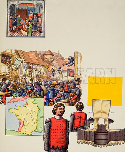 The 100 Years War.  Our picture shows: top, Edward III with some of this subjects; the French pillaging Southampton in 1338; a map showing the English possessions in red, notably Aquitaine (west of France) and Ponthiue (north of France); and armour, including a coat of plates.  Original artwork for illustration on p20 of Look and Learn issue no 493 (26 June 1971).  Lent to Look and Learn for scanning by The Gallery of Illustration.