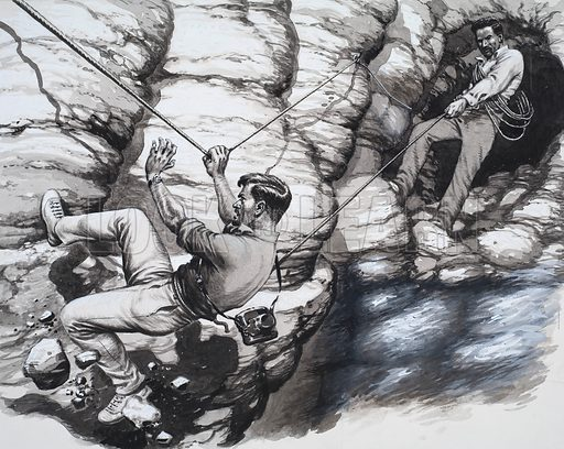 Climbing Archeologists. Peter Willey had almost reached the other end of the ledge when there was a crash and roar of breaking rock. Original artwork for an illustration on p9 of Look and Learn issue no 278 (13 May 1967).