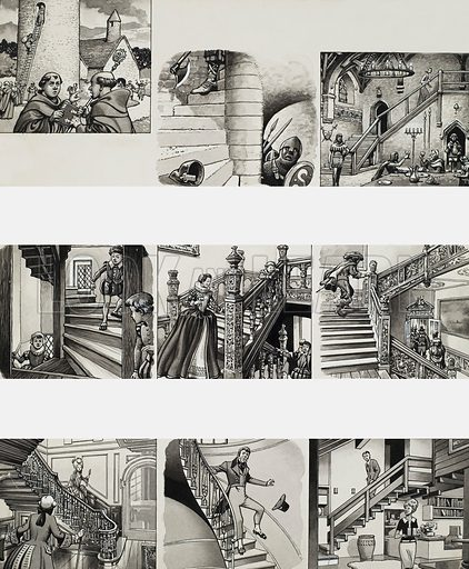 Stairways through the Ages.  Original artwork for illustration on p129 of the Look and Learn Book 1984.  Lent to Look and Learn for scanning by The Gallery of Illustration.