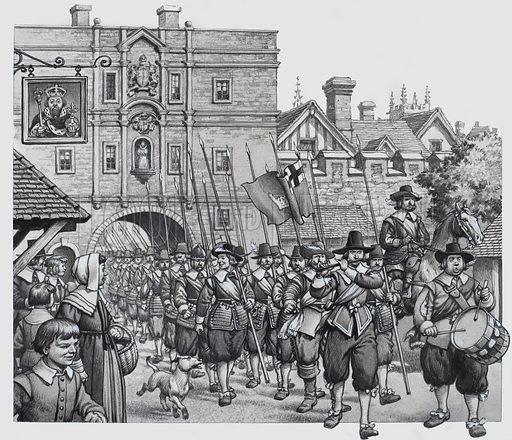 "English Civil War.  One of London's ""train-bands"" marches through Ludgate to the martial beat of the drum - part of the flood of Londoners that poured out to defend the city against the menace of the Royalist army.  Original artwork for illustration on p19 of Look and Learn issue no 765 (11 September 1976).  Lent to Look and Learn for scanning by The Gallery of Illustration."