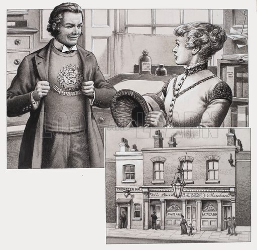 """The Salvation Army.  Our picture shows Bramwell Booth in the Salvation Army's distinctive uniform.   He had some difficulty at first in persuading the women to wear their bonnets.  The bottom picture shows the public house which was next door to where the Salvation Army printed its weekly paper, """"The War Cry"""".  Original artwork for illustrations on p16 of Look and Learn issue no 656 (10 August 1974).  Lent to Look and Learn for scanning by The Gallery of Illustration."""
