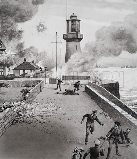 Lighthouse under Bombardment.  Original artwork for illustration in Look and Learn (issue yet to be identified).  Lent to Look and Learn for scanning by The Gallery of Illustration.