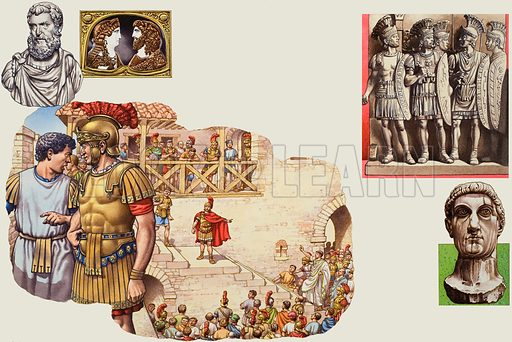 The Praetorian Guard. Original artwork for illustration in Look and Learn (issue yet to be identified).