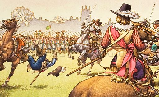 The battle of Turnham Green, west of London, in which musketeers and pikemen repel a Royalist charge.