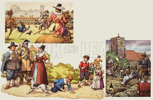 "English Civil War.  Pictures show: top left, the battle of Turnham Green, west of London, in which musketeers and pikemen repel a Royalist charge; below, in Puritan London, children could be reported to the military if they were caught playing games on a Sunday; and right, a ""plague pit"" near the Church at Aldgate.  Original artwork for illustrations on pp20-21 of Look and Learn issue no 765 (11 September 1976).  Lent to Look and Learn for scanning by The Gallery of Illustration."