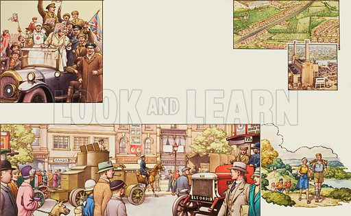 Post World War I.  Our picture shows: top left, celebrations after the end of World War I; middle, the national strike in 1926 when volunteers drove the buses and goods depots were set up in Hyde Park with lorries bringing supplies led by an armoured car as a precaution; top right, strip housing development along roads, which was in due course, forbidden by Act of Parliament; and hiking.  Original artwork for illustration on pp20-21 of Look and Learn issue no 770 (16 October 1976).  Lent to Look and Learn for scanning by The Gallery of Illustration.