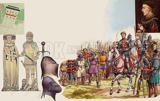 Battle of Agincourt.  The main picture shows Henry V riding along the lines of archers before the commencement of the battle of Agincourt.  He is mounted on a small grey mare, a dainty creature quite unsuited to battle.  Behind him is the mighty war-horse which he rode throughout the battle, shown here in the custody of one of Henry's squires.  Behind the war-horse is yet another squire who carried Henry's helmet with the jewelled crown.  Top right inset shows a portrait of Henry V based on that in the National Portrait Gallery.  Top left shows the positioins of the armies at Agincourt, with the English in red, and the French in black.  The monumental brasses are those of Thomas Lord Camoys and his wife.  Original artwork for illustrations on pp20-21 of Look and Learn issue no 498 (31 July 1971).  Lent to Look and Learn for scanning by The Gallery of Illustration.