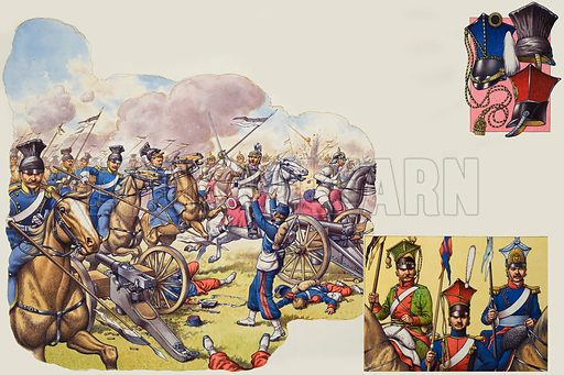 "Uhlans. The ""Death Ride"" of the Prussian Uhlans at Mars-le-Tour in 1980 was similar to Britain's Light Cavalry charge at Balaclava – heroic, but costly. Right (l to r) an Austrian Uhlan (1815), a Russian Uhlan (1812), and an Uhlan of the Grand Duchy of Warsaw (1807–14). Top right, czapkas, the traditional headgear of the lancer – left, Prussian Uhlan helmet; right, Uhlan czapja used in bad weather; bottom right, a Russian model with a rear flap that could be turned down in the rain. Original artwork for illustrations on pp10–11 in Look and Learn issue no 690 (5 April 1975)."