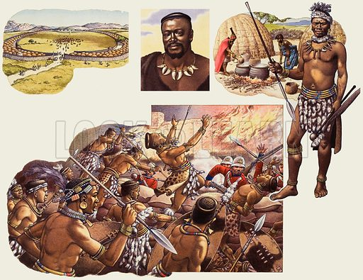 Zulus.  Main, Rorke's Drift.  Far right, a typical Zulu warrior with spear, shield and knobjerrie, with, in the background, Zulu wives brewing Utshwala, the native beer.  Above, the Royal Kraal of Cetywayo at Ulundi.  Original artwork for illustrations on pp10-11 of Look and Learn issue no 691 (12 April 1975).  Lent to Look and Learn for scanning by The Gallery of Illustration.