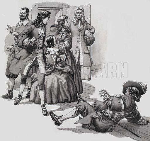 """""""This dragoon was molesting the young lady,"""" I explained.  Original artwork for illustration to story on p16 of Look and Learn issue no 312 (6 January 1968).  Lent to Look and Learn for scanning by The Gallery of Illustration."""