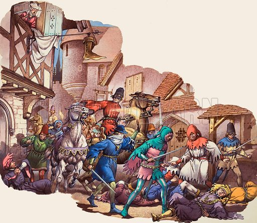 Murder of Louis, Duke of Orleans during the 100 Years War. As the shoemaker's wife looked down, she saw masked men murdering a nobleman who had been dragged from his horse. She screamed until one of the attackers shouted up at her. The man that lay dead was Louis, Duke of Orleans, brother of the French King, murdered by minions of the Duke of Burgundy. Original artwork for illustrations on pp20–21 of Look and Learn issue no 497 (24 July 1971).