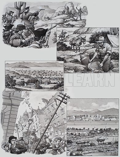 California. Illustrations of: a battle between Spanish colonists and California's Indians from 1769 onwards; seeking for gold, from 1848 onwards; the tiny village of San Francisco; the terrible San Francisco earthquake in 1906; and the beautiful city of San Diego. Original artwork for illustration on p23 of Look and Learn issue no 486 (8 May 1971).
