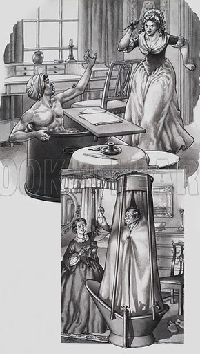 Jean Paul Marat and Disraeli in the Bath. Illustrations showing: Marat relieving himself in the bath from the skin disease from which he suffered, with Charlotte Corday rushing in and assassinating him; and Mrs Disraeli pulling the chain for her husband as he bathed. Original artwork for p23 of Look and Learn issue no 461 (14 November 1970).
