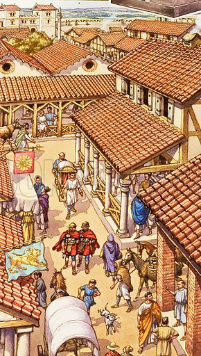 Typical London Street in Roman Times.