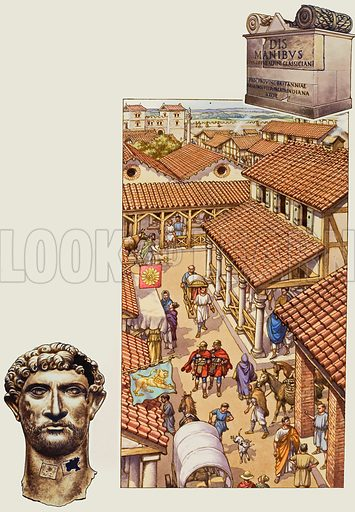 Typical London street in Roman times. Beyond one of the gates may be seen the rolling countryside now covered by the growth of Greater London. Bottom left: bronze head of the emperor Hadrian. Top right: the tomb of Classicianus erected by his wife. Original artwork for illustrations on p20 of Look and Learn issue no 760 (7 August 1976).