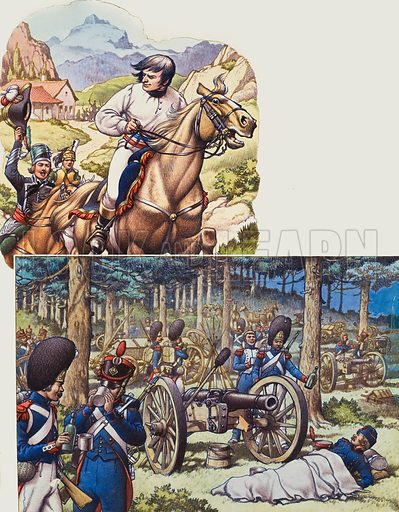 Napoleon and Napoleon's Imperial Guard.  Top: Napoleon, making a narrow escape with an Austrian cavalry patrol close on his heels.  Bottom: it was a point of honour for guardsmen to share food and drink with their comrades.  Original artwork for p10 of Look and Learn issue no 686 (8 March 1975).  Lent to Look and Learn for scanning by The Gallery of Illustration.