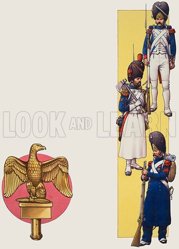 Napoleon's Imperial Guard. Left: the emblem of the Guards, the regimental eagle, symbol of the Guards' legendary loyalty to their unit. Right: sappers and grenadiers of the Imperial Guard in full dress uniform. Original artwork for p11 of Look and Learn issue no 686 (8 March 1975).