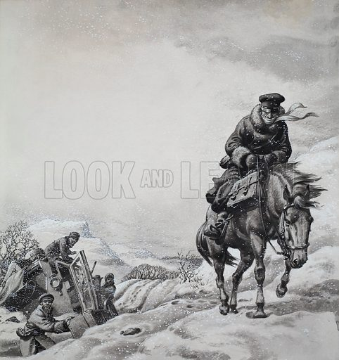 Royal Messenger James Baillie Fraser, who made a 98 days journey from London to Tehran in Persia in 1833/34.  Here he is shown on snow-covered wastes of Turkey.  Original artwork for illustration on p3 of Look and Learn issue no 294 (2 September 1967).  Lent to Look and Learn for scanning by The Gallery of Illustration.