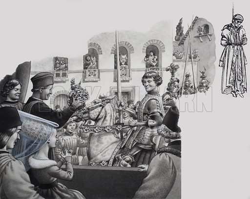 Lorenzo de Medici winning the prize after a tournament in the Piazza Santa Croce. Original artwork for illustration on pp16–17 of The Look and Learn Book 1983.