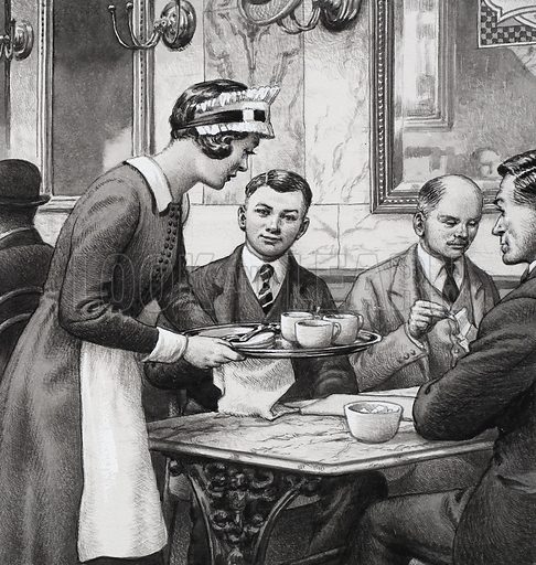 Edwardian Teashop.  Ffood was served at marble-topped tables with an air of gentility.