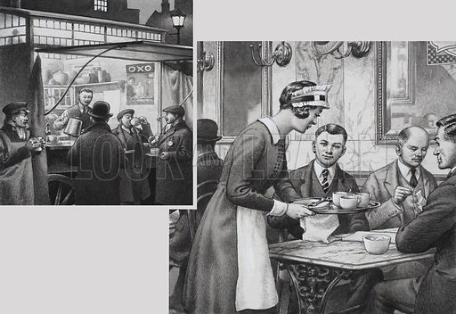 Edwardian Coffee Stall and Teashop.  Coffee stalls could be found in many towns.  They were a boon to cab drivers and other who happened to be out late.  In contrast were the teashops where food was served at marble-topped tables with an air of gentility.  Original artwork for illustrations on p32 of Look and Learn issue no 713 (13 September 1975).  Lent to Look and Learn for scanning by The Gallery of Illustration.