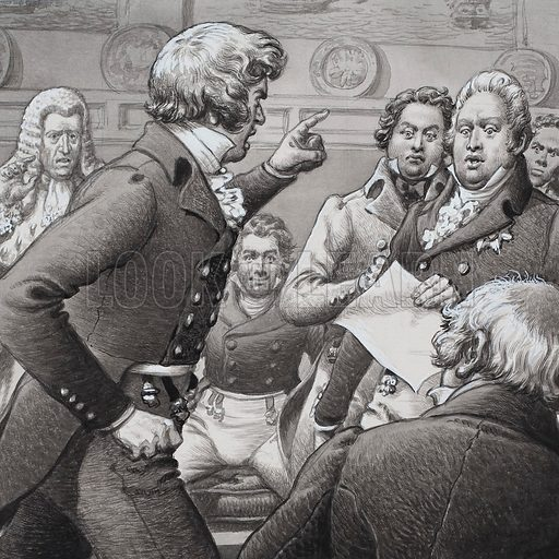 The Duke of Cumberland, shown clashing in public with his brothers.  Original artwork for illustration on p5 of Look and Learn issue no 508 (9 October 1971).  Lent to Look and Learn for scanning by The Gallery of Illustration.