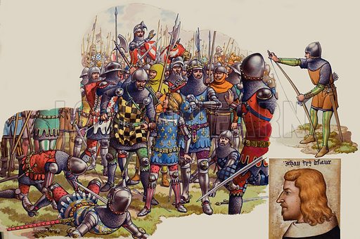 "Battle of Poitiers.  When King John of France and his young son were captured at Poitiers there was much quarrelling as to who should claim the King.  Finally, he surrendered to a powerful young knight called Denis de Morbecque, who was a French exile fighting on the English side.  John ""The Good"" was taken to England where he lived for many years until his death.  Original artwork for illustration on pp20-21 of Look and Learn issue no 495 (10 July 1971).  Lent to Look and Learn for scanning by The Gallery of Illustration."