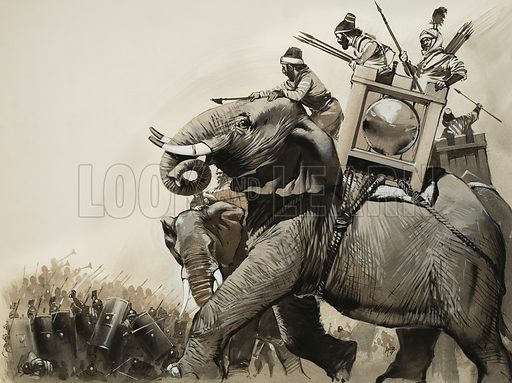 Zama.  Panicking at the sound of the Roman trumpets, Hannibal's elephants turned and trampled back on their own cavalry.  It was the beginning of the end for the Carthaginians.  Original artwork for illustration on pp4-5 of Look and Learn issue no 618 (17 November 1973).