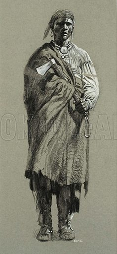 Unidentified Native. Original artwork for illustration in Look and Learn (issue yet to be identified).