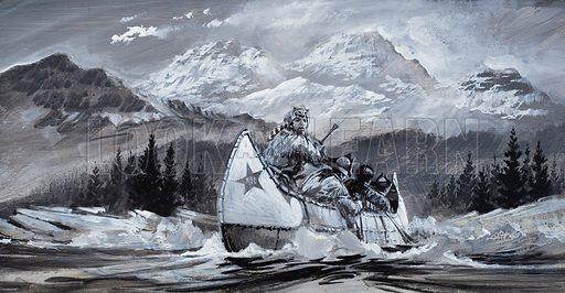 Alexander Mackenzie would endure anything to pave the way for trade, but risk nothing for the sake of glory.  Yet he discovered and mapped huge areas of Canada without harming an Indian and opened it up for fur traders, gold prospectors and, in the modern times, the men who drill for oil.  Our picture shows Mackenzie and his party setting off to find a route due West to the Pacific Ocean, crossing rocks and rapids.  Original artwork for illustration on p19 of Look and Learn issue no 532 (25 March 1972).