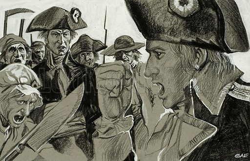 Soldiers.  Original artwork for illustration in Look and Learn (issue yet to be identified).