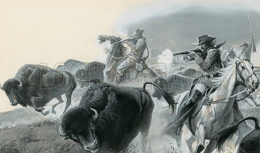 Buffalo.  By slaughtering the buffalo in huge numbers for their hides, the white men robbed the Indian of a necessary source of food, clothing and shelter.  Original artwork for illustration on p22 of Look and Learn issue no 917 (18 August 1979).  Lent for scanning by The Gallery of Illustration.