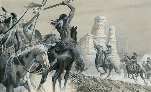 Buffalo Wallow.  Sometimes the Indians would ride towards the white men at headlong speed.  The men would force themselves to keep cool and fire at the Indians.  Original artwork for illustration on p30 of Look and Learn issue no 884 (23 December 1978).  Lent for scanning by The Gallery of Illustration.
