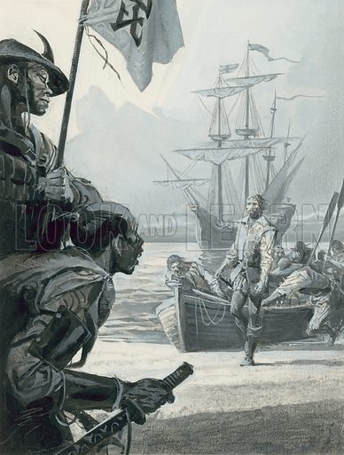 "Will Adams.  The gaunt, starving men, a mere 24 out of the original crew of 100 from the ""Charity"", must have presented a startling sight to the Japanese who took them ashore.  Original artwork for Look and Learn issue no 1039 (6 February 1982).  Lent for scanning by The Gallery of Illustration."