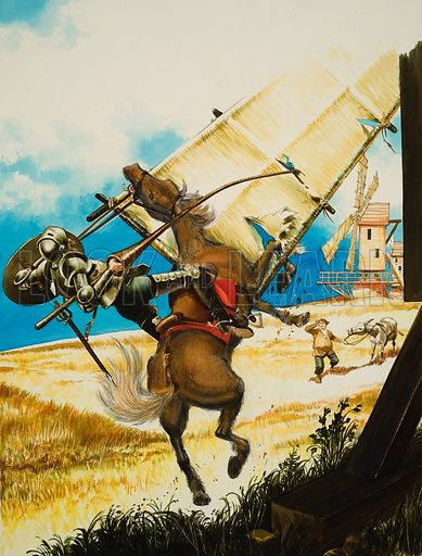 Don Quixote.  Original artwork for Treasure or Look and Learn (issue yet to be identified).  Lent for scanning by The Gallery of Illustration.