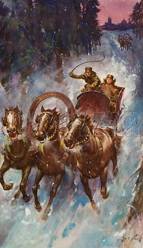 Slay Ride.  Original artwork for illustration in Look and Learn (issue yet to be identifed).  Lent for scanning by The Gallery of Illustration.