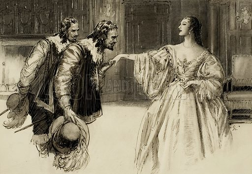Courtiers. Original artwork for illustration in Look and Learn (issue yet to be identified).