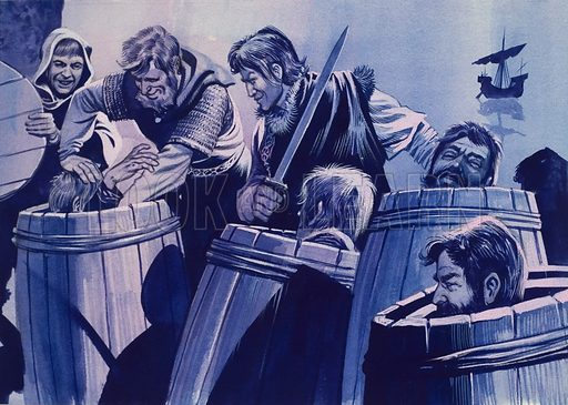 """Klaus Stortebeker, the Pirate, who keft captured crews in herring barrels. Original artwork for Look and Learn and re-used in """"The Valiant Book of Pirates"""" (issue yet to be identified). Lent for scanning by The Gallery of Illustration."""