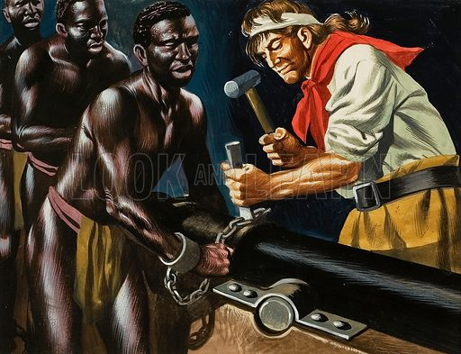 Pirates and Slaves.  Pirates occasionally seized slaving vessels from the African coast.  But the pirates - even who generally killed without a qualm - took only the crew and money on board, freeing the slaves and giving them rough sailing instructions on how to man the ship and escape to safety.  Original artwork for illustration on p28 of Look and Learn issue no 167 (27 March 1965).  Re-used in the Valiant Book of Pirates.  Lent for scanning by The Gallery of Illustration.