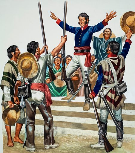 Mob gathered outside Agustin de Iturbide's house demanding that he make himself emperor of Mexico, 1822. Original artwork for illustration on p25 of Look and Learn issue no 522 (15 January 1972).