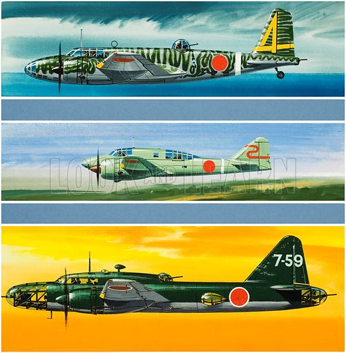 Japanese Aircraft of World War II. From top to bottom: Mitsubishi Ki 21–11b; Mitsubishi Ki 46–11; and Mitsubishi Ki 67–1b HIRYU Original artwork for illustrations on p23 of Look and Learn issue no 373 (8 March 1969).