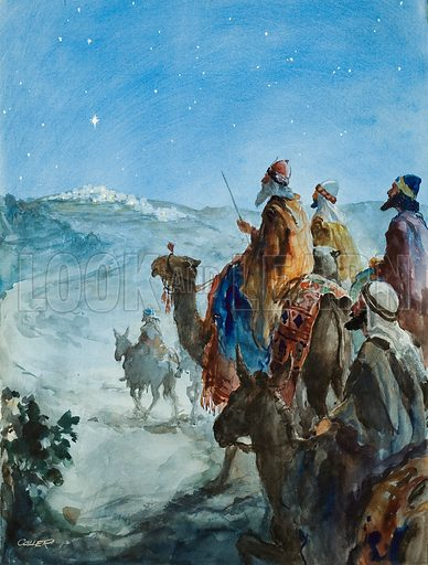 The Three Wise Men following the star to the birthplace of Jesus Christ in Bethlehem. Original artwork for Look and Learn or The Bible Story (issue yet to be identified).