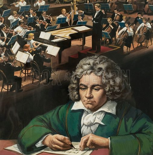 Beethoven. Original artwork for Look and Learn cover (issue yet to be identified).