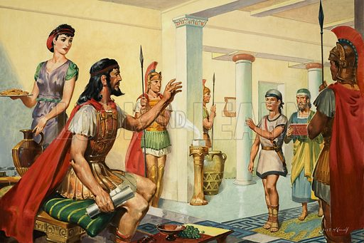 King Nestor was an old friend of the fabled Odysseus.  When Telemachus, Odysseus' son, visiting Pylos seeking news of his father, Nestor ordered a great banquet in his honour.  Original artwork for illustration on p8 of Look and Learn issue no 40 (20 October 1962).