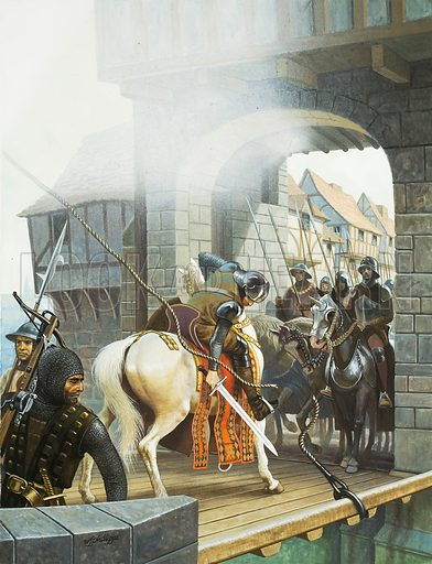 Jack Cade.  To avoid being trapped in the city by a raised drawbridge, Cade cut the ropes of the drawbridge forming part of London Bridge as he and his huge army rode victoriously into the capital.  Once in he declared arrogantly that he was lord of the city.  Original artwork for illustration on p15 of Look and Learn issue no 991 (7 March 1981).  Lent for scanning by The Gallery of Illustration.