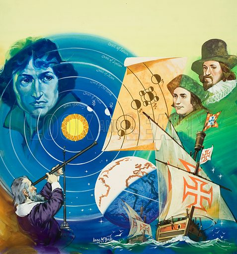 Renaissance Men.  Copernicus (top left), Galileo (bottom left), Francis Bacon (top right), and Thomas More (bottom right).  Original artwork for illustration on p25 of Look and Learn issue no 599 (7 July 1973).  Lent for scanning by The Gallery of Illustration.