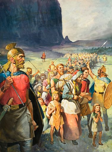 Ancient Germanic warrior tribe. Ferocious Germanic tribes, chased from their homelands by a stronger enemy, began a reign of conquest in Central Europe. Original artwork for cover of Look and Learn issue no 540 (20 May 1972).