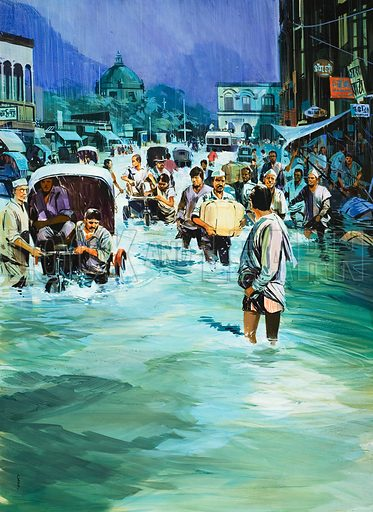 Indian Monsoon. Original artwork for illustration on p12 of Look and Learn issue no 586 (7 April 1973).